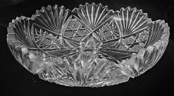 American Brilliant Cut Unsigned Low Bowl Hobstar with a Center Star of David Pat $60.00
