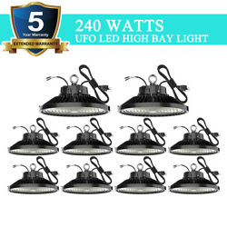 10 Pack 240W UFO Led High Bay Light Factory Warehouse Commercial Light Fixtures