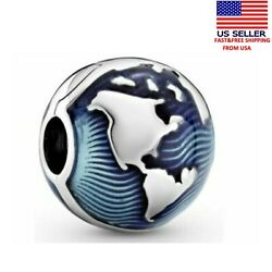 New Authentic Pandora Sterling Silver S925 ALE 799429 Blue Globe Charm $17.99