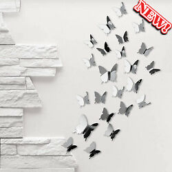 DIY 3D Butterfly Wall Stickers 48 PCS Sliver Mirror Butterfly Wall Decor Set 3 $9.89