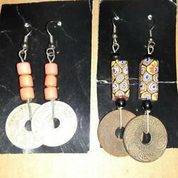 Lot of 2 Vintage Earrings with Coins amp; Beads PB $2.00