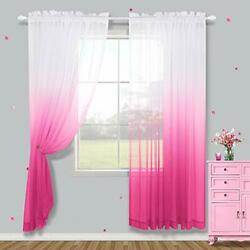 Baby Pink Curtains for Bedroom Girls 2 Panels Sheer Pink Curtains for Girl Ro... $32.40
