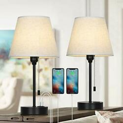 Bedside Table Lamp Nightstand Lamp with Dual USB Charging Ports Modern Lamps... $57.02