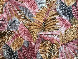 4.5y Alexander Henry Fabric Large Scale Leaf Leaves Tropical Foliage Pink Brown $39.95
