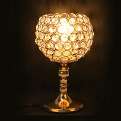 Modern Crystal Table Lamp Glass Cup Nightstand Lamp for Bedroom Living Room Gold $27.89