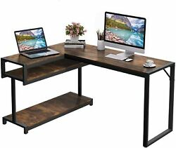 L Shaped Desk with Hutch 66quot; Large Computer Desk Gaming Table PC Table $62.99