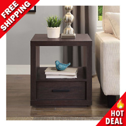 Espresso End Table with Drawer Contemporary Table Living Room Office Bedroom NEW $83.00
