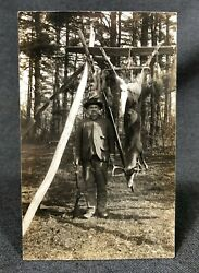 Hunting Rifle Dead Deer Buck Hanging Antique Real Photo Postcard RPPC View $15.00