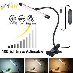 34LED Dimmable Desk Lamp Clip On LED Flexible Arm Study Reading Table Light T3W5 $15.03