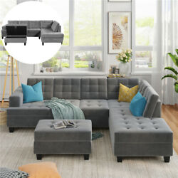 Modern Living Room Sofa Set Grey Sectional with Ottomanthree person sofaChaise $1399.99