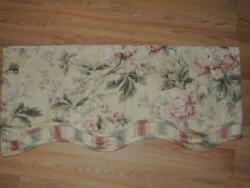 WAVERLY FOREVER YOURS ANTIQUE FAIRFIELD SCALLOPED VALANCE 78W PINK FLORAL STRIPE $17.99