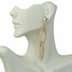 Four Layer Links With Large Zircon Of Fashion Chandelier Earrings $15.86