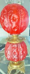 Antique Vintage GWTW Red Cranberry Iris Hurricane Gone with the Wind Lamp LARGE $400.00