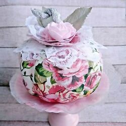 Pink Floral Pumpkin Decor Fall Shabby Chic Roses Lace Cottage Core Victorian $13.95