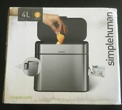 NEW OPEN BOX SIMPLE HUMAN COMPOST CADDY STAINLESS STEEL 4L CW1645 SIMPLEHUMAN $39.99