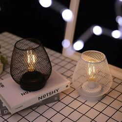 Metal Cage Table Lamps Battery Powered LED Lights Cordless Accent New $29.99