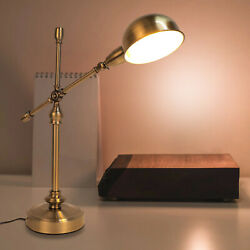 Bedside Nightstand Metal Desk Table Lamp Light Adjustable Arm with Copper Finish $62.78