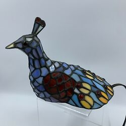 Peacock Bird Tiffany Style Lamp Stained Glass Desk Night Light TESTED WORKS $110.43