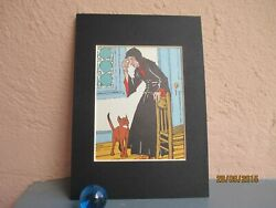 vintage illustration of witch and cat 1942 $12.50