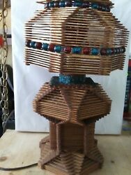Vintage Prison Art Lamp Crafted With Popsickle Sticks amp; Colorful Marbles Working $65.00