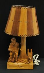 Vintage Paul E Caron Wooden Lamp Cleaned Refurbished Replaced Small Crack on S $245.00