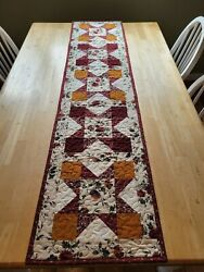 Handmade quilted table runner multicolored earth tones star design $28.00