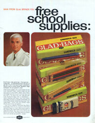 Free School Supplies Glad Bags The Man from Glad ad 1966 :HJ $9.99