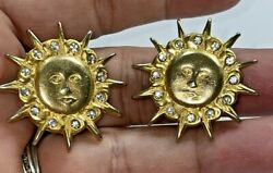 Crystal and Gold Sun Earrings Excellent Clip Style $12.00