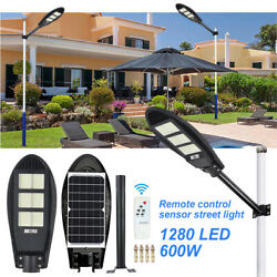 600W Commercial Solar Street Light LED Outdoor IP67 Dusk to Dawn Road LampPole