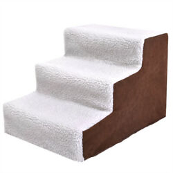 White 3 Step Pet Stair Ladder to Couch Ledge Bed for Dog Cat Guinea Pig w Cover $23.99