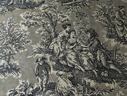 Vintage Shabby Chic Waverly#x27;s French Classics Rustic Toile Country Life Fabric $7.99