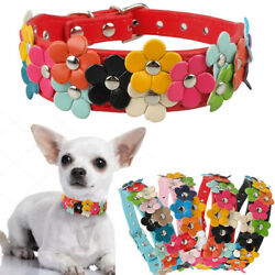 Flower Studded Pet Dog Leather Collar Female Girl Necklace for Small Medium Dogs $8.29