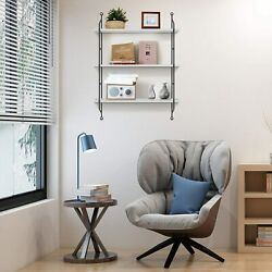 3 Tiers Rustic Floating Book Shelves Wall Mounted Industrial Wall For Home $36.39