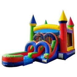 Rainbow Jump Castle Commercial Inflatable Bounce House Water Slide With Blower $629.99