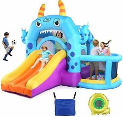 Safety Three Play Areas Inflatable Bounce House Kids Castle Slide with Blower RU $319.99