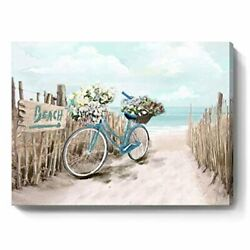 Beach Canvas Wall Art for Bathroom Ocean Pictures Seaside Bicycle Canvas Print S $21.91
