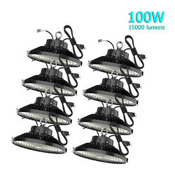 8Pack 100W UFO Led High Bay Light Warehouse Factory Commercial Light Fixtures
