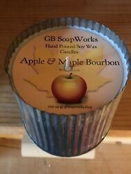 Apple amp; Maple Bourbon Fall Scented Candle Decorative Corrugated Metal Containers $23.00