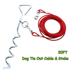 20FT Tie Out Cable for Dog with Chrome Dog Stake for Outdoor Yard and Camping $11.39