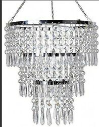 3 Tiers Fuax Crystal Acrylic Beaded Chandelier W10.5quot; H 11quot;Modern Chrome... $25.00