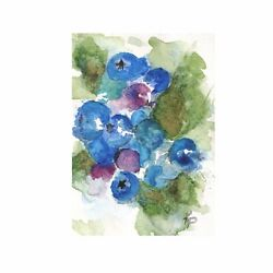"""Original ACEO Watercolor Painting """"Blueberries I"""" Fruit Still Life Signed Matted $20.00"""
