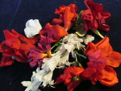 Vintage Millinery Flower Collection Bright Red Shades White 2 4quot; German H4122 $11.99
