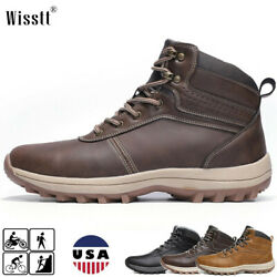 Mens Biker Warm Trekking Snow Fur Lined Shoes Frosty Hiking Mid Ankle Work Boots $37.95