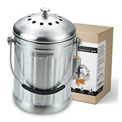 Countertop Compost Bin with lid 1.3 Gallon Stainless Steel Compost Silver $42.88