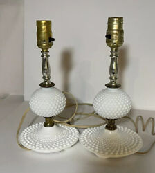 Table Lamps Milk Glass Hobnail Glass Ball Small Table Lamps Vintage 1940 Vintage $38.50