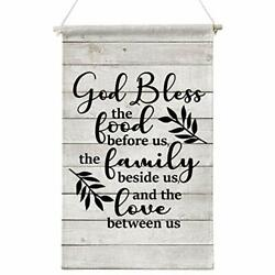 God Bless the food before us wooden Wall Canvas Art Kitchen Sign Wall Decor me $23.83