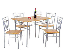 FDW Set of 4 Dining Modern Chairs and Table with Metal Legs Wood Table TopBrown $152.99