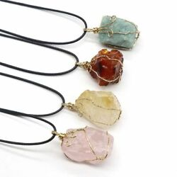Natural Gemstone Necklace Chakra Stone Pendant Energy Healing Crystal with Chain $6.99