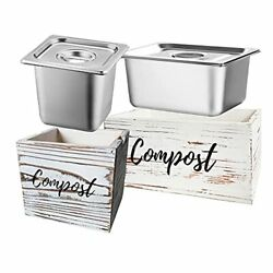 Kitchen Compost Bin Wooden Compost Container with Stainless Steel Bucket $88.85
