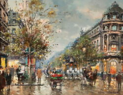 Wall Art Decor Lively Paris Street Oil painting Giclee Printed on canvas P785 $7.99